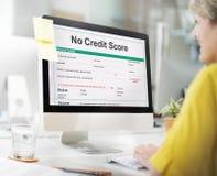 Nenhum débito Deny Concept da pontuação de crédito imagens de stock