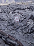 Nenhum fluxo de lava vulcânico do sinal do estacionamento Fotografia de Stock Royalty Free
