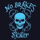 Nenhum gráfico do skater dos freios para o t-shirt, projeto do T, cartaz, emblema, VE Fotos de Stock