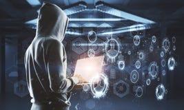 Nenhum hacker da cara na relação da tecnologia digital imagens de stock royalty free