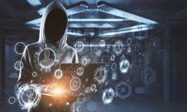 Nenhum hacker da cara na relação da tecnologia digital imagem de stock