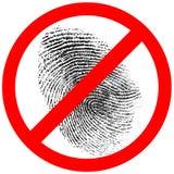 Nenhum impressão digital ou sinal proibido impressão digital fotos de stock royalty free