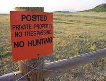 Nenhum não tresspassing nenhuma caça Fotos de Stock