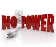 Nenhum poder exprime a indisponibilidade elétrica da eletricidade da tomada do cabo ilustração stock