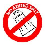 Nenhum símbolo adicionado de sal Imagem de Stock