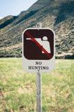 Nenhum sinal da caça no terreno público Fotografia de Stock Royalty Free