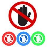 Nenhum sinal da entrada Pare o ícone da mão da palma no círculo vermelho para fora cruzado ST ilustração stock