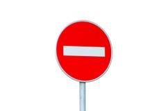 Nenhum sinal de estrada da entrada isolado no branco Fotos de Stock
