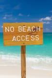 Nenhum sinal do acesso da praia Imagens de Stock