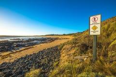 Nenhum sinal do acesso: parada do pinguim da praia imagem de stock