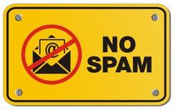Nenhum sinal do amarelo do Spam - sinal do retângulo Imagem de Stock