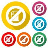 Nenhum sinal do gás, nenhum ícone do sinal de aviso do combustível, ícone da cor com sombra longa ilustração royalty free