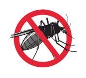 Nenhum sinal do mosquito no fundo branco Fotografia de Stock Royalty Free