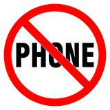 Nenhum sinal do telefone Prohobition vermelho do círculo ilustração royalty free