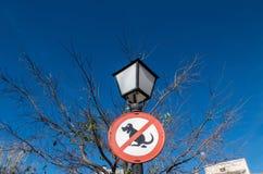 Nenhum sinal do tombadilho do cão no cargo da lâmpada de rua imagem de stock royalty free