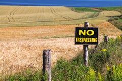 Nenhum sinal infrinjindo da exploração agrícola Foto de Stock