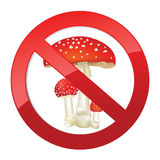 Nenhum sinal perigoso da toxina. Cogumelo do cogumelo venenoso ilustração stock