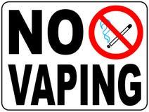 Nenhum sinal vaping Não fume o símbolo eletrônico do cigarro Ilustração do vetor isolada no branco Ícone vermelho proibido de adv Fotos de Stock Royalty Free