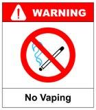 Nenhum sinal vaping Não fume o símbolo eletrônico do cigarro Ilustração do vetor isolada no branco Ícone vermelho proibido de adv Foto de Stock