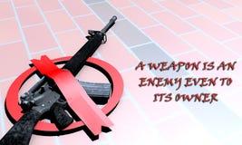 Nenhuma arma, arma é um inimigo foto de stock