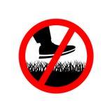 Nenhuma etapa no sinal da proibição da grama do gramado ilustração stock