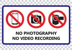 Nenhuma fotografia e nenhum quadro indicador da gravação de vídeo ilustração stock