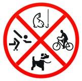 Nenhuma pesca, nenhum skateboarding e nenhum animal de estimação Imagem de Stock Royalty Free