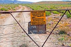 Nenhuma porta dos trespassers em África do Sul Foto de Stock