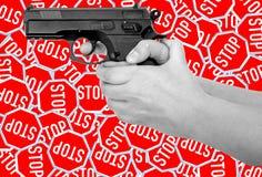 Nenhumas armas, sinal das armas Imagens de Stock