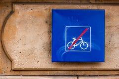 Nenhumas bicicletas permitidas Foto de Stock Royalty Free