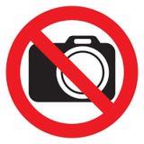 Nenhumas câmeras permitidas o sinal Proibição vermelha nenhum sinal da câmera Nenhumas imagens de tomada, nenhum sinal das fotogr Foto de Stock