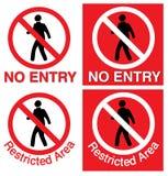 Nenhumas entrada & área interditado Fotografia de Stock Royalty Free