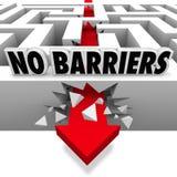 Nenhumas quebras da seta das barreiras através de Maze Walls Freedom Foto de Stock Royalty Free