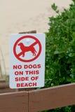 Nenhuns cães no sinal da praia Imagem de Stock Royalty Free