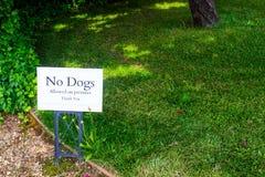 Nenhuns cães permitidos no sinal dos locais imagem de stock
