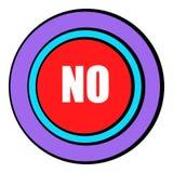 Nenhuns desenhos animados do ícone do botão vermelho Imagem de Stock Royalty Free