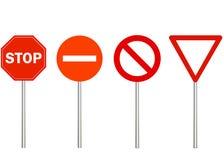 Nenhuns entrada, parada e tráfego proibem sinais Sinal de estrada de advertência no fundo branco, triângulo vermelho Faça a manei ilustração royalty free