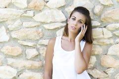 Nennen mit dem Mobile Lizenzfreies Stockbild