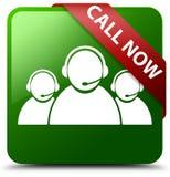 Nennen Sie jetzt Kundenbetreuungsteamikonengrün-Quadratknopf Lizenzfreie Stockfotografie