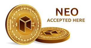 NEO. Accepted sign emblem. Crypto currency. Golden coins with NEO symbol isolated on white background. 3D isometric Physical coins. With text Accepted Here Royalty Free Stock Photography