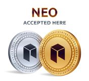 NEO. Accepted sign emblem. Crypto currency. Golden and silver coins with NEO symbol  on white background. 3D isometric Phy. Sical coins with text Accepted Here Royalty Free Stock Image