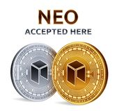NEO. Accepted sign emblem. Crypto currency. Golden and silver coins with NEO symbol isolated on white background. 3D isometric Phy. Sical coins with text Stock Photography