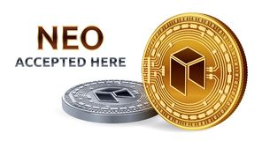 NEO. Accepted sign emblem. Crypto currency. Golden and silver coins with NEO symbol isolated on white background. 3D isometric Phy. Sical coins with text Royalty Free Stock Photo