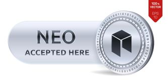 NEO accepted sign emblem. 3D isometric Physical coin with frame and text Accepted Here. Cryptocurrency. Silver coin with NEO symbo. L isolated on white Stock Images
