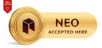 NEO accepted sign emblem. 3D isometric Physical coin with frame and text Accepted Here. Cryptocurrency. Golden coin with. NEO symbol isolated on white Royalty Free Stock Photo