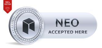 NEO accepted sign emblem. 3D isometric Physical coin with frame and text Accepted Here. Cryptocurrency. Silver coin with NEO symbol isolated on white Stock Image