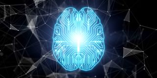 Neo brain concept. With circuit board at abstract technology background. 3D render Royalty Free Stock Images