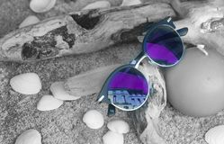 Neo Chrome Sunglasses With Silver and Black Frame on Brown Firewood Stock Photos