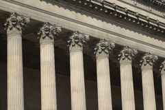 Neo classical columns in detail. On a building in the north-west of England Royalty Free Stock Photo