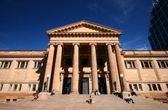 Neo-classical stone building of historic State Library of New South Wales NSW with main entry on grand stairway in Sydney downtown stock photography